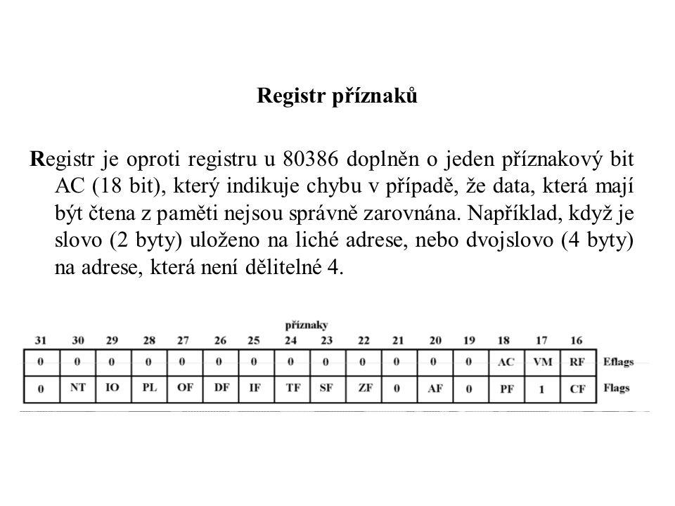 Registr příznaků Registr je oproti registru u 80386 doplněn o jeden příznakový bit AC (18 bit), který indikuje chybu v případě, že data, která mají být čtena z paměti nejsou správně zarovnána.