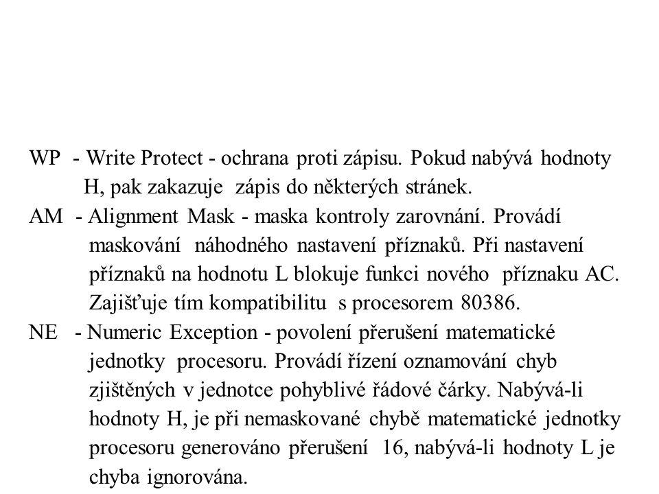 WP - Write Protect - ochrana proti zápisu. Pokud nabývá hodnoty H, pak zakazuje zápis do některých stránek. AM - Alignment Mask - maska kontroly zarov