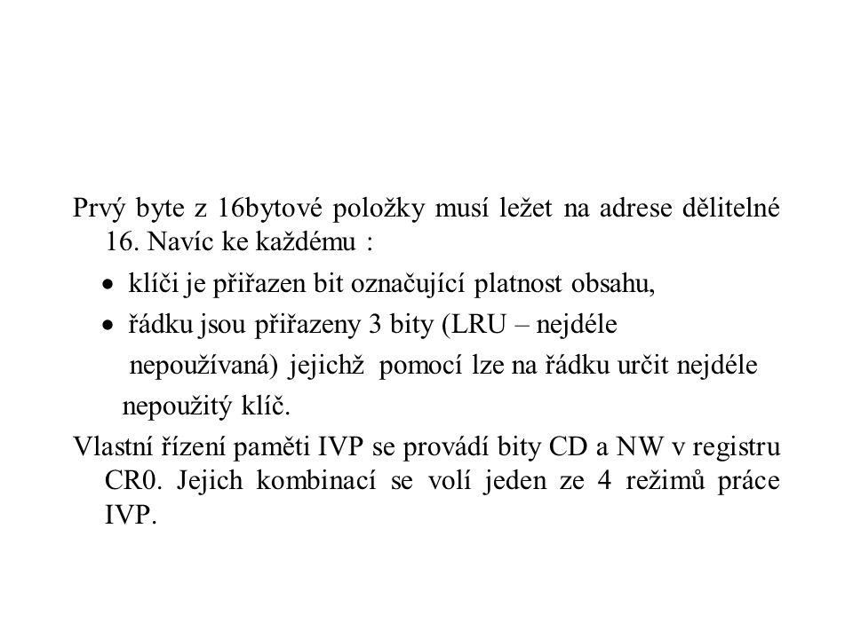 Prvý byte z 16bytové položky musí ležet na adrese dělitelné 16. Navíc ke každému :  klíči je přiřazen bit označující platnost obsahu,  řádku jsou př