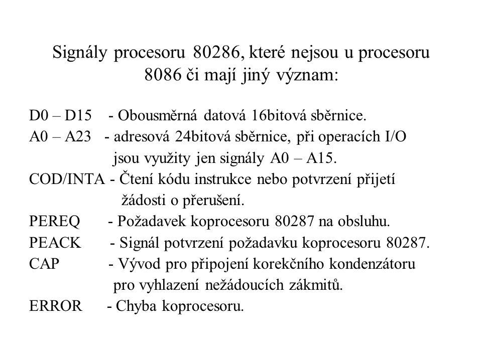 Signály procesoru 80286, které nejsou u procesoru 8086 či mají jiný význam: D0 – D15 - Obousměrná datová 16bitová sběrnice. A0 – A23 - adresová 24bito