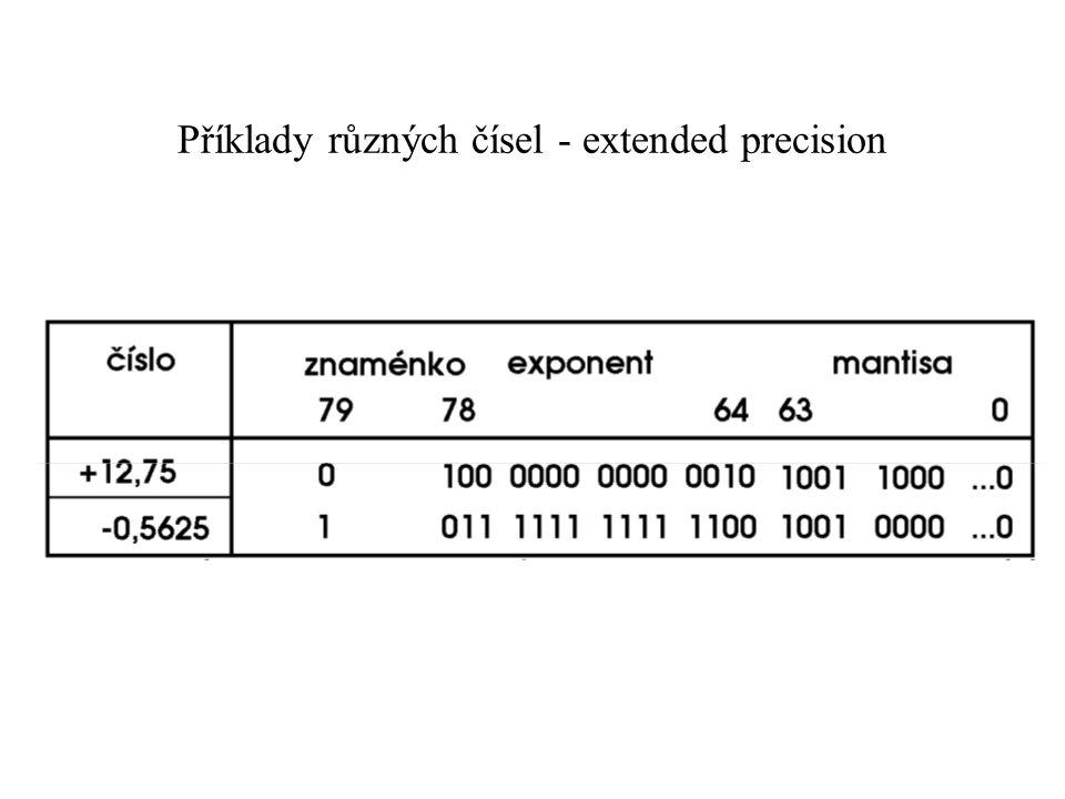 Příklady různých čísel - extended precision