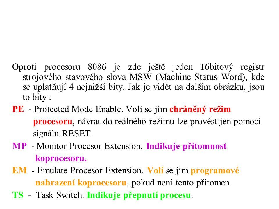 Oproti procesoru 8086 je zde ještě jeden 16bitový registr strojového stavového slova MSW (Machine Status Word), kde se uplatňují 4 nejnižší bity.