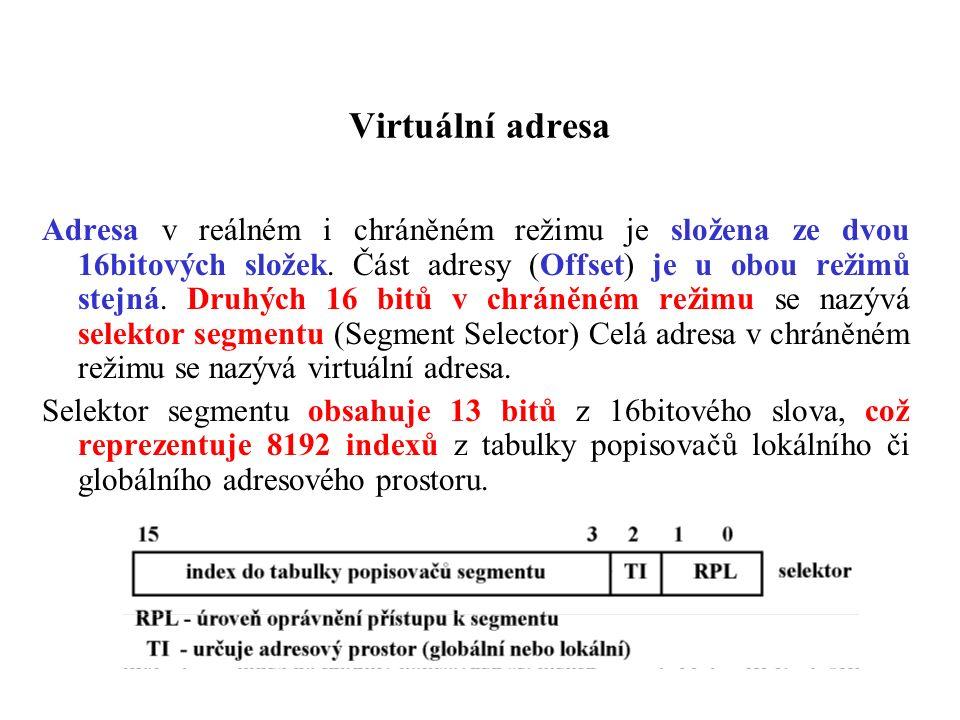 Virtuální adresa Adresa v reálném i chráněném režimu je složena ze dvou 16bitových složek. Část adresy (Offset) je u obou režimů stejná. Druhých 16 bi