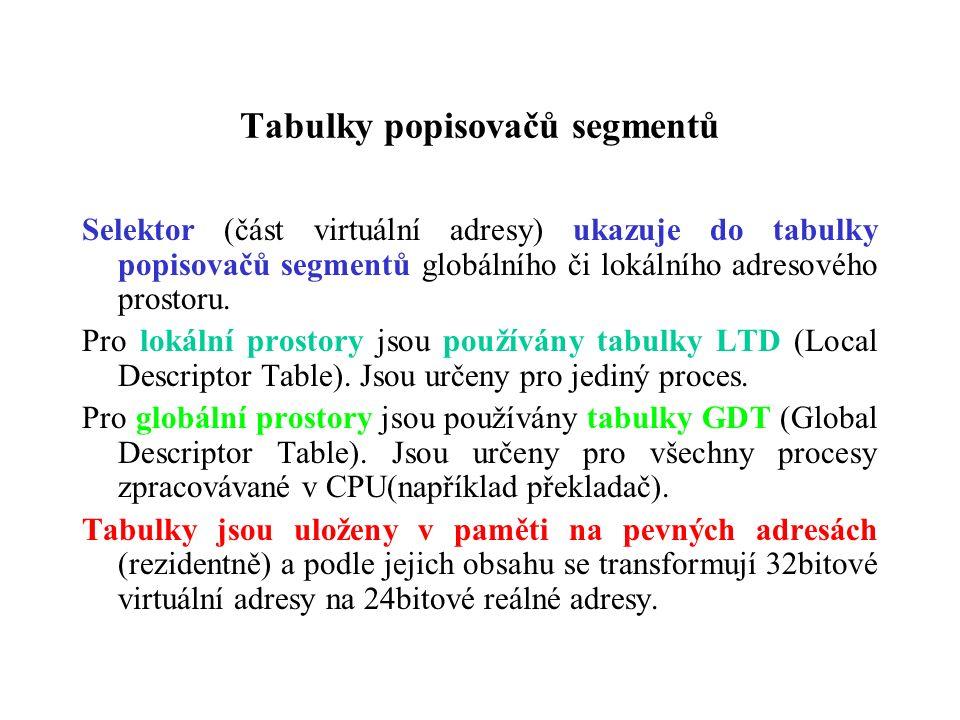 Tabulky popisovačů segmentů Selektor (část virtuální adresy) ukazuje do tabulky popisovačů segmentů globálního či lokálního adresového prostoru.