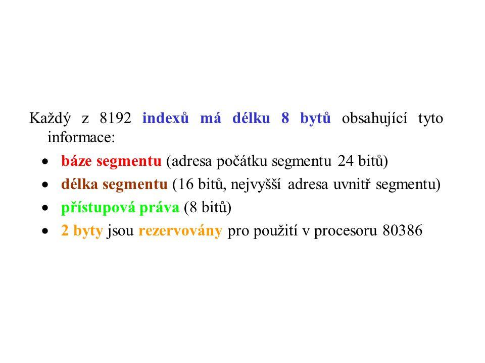 Každý z 8192 indexů má délku 8 bytů obsahující tyto informace:  báze segmentu (adresa počátku segmentu 24 bitů)  délka segmentu (16 bitů, nejvyšší adresa uvnitř segmentu)  přístupová práva (8 bitů)  2 byty jsou rezervovány pro použití v procesoru 80386