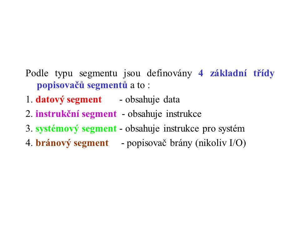 Podle typu segmentu jsou definovány 4 základní třídy popisovačů segmentů a to : 1.