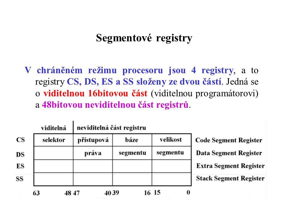 Segmentové registry V chráněném režimu procesoru jsou 4 registry, a to registry CS, DS, ES a SS složeny ze dvou částí. Jedná se o viditelnou 16bitovou
