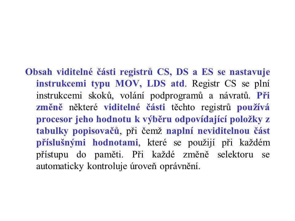 Obsah viditelné části registrů CS, DS a ES se nastavuje instrukcemi typu MOV, LDS atd. Registr CS se plní instrukcemi skoků, volání podprogramů a návr