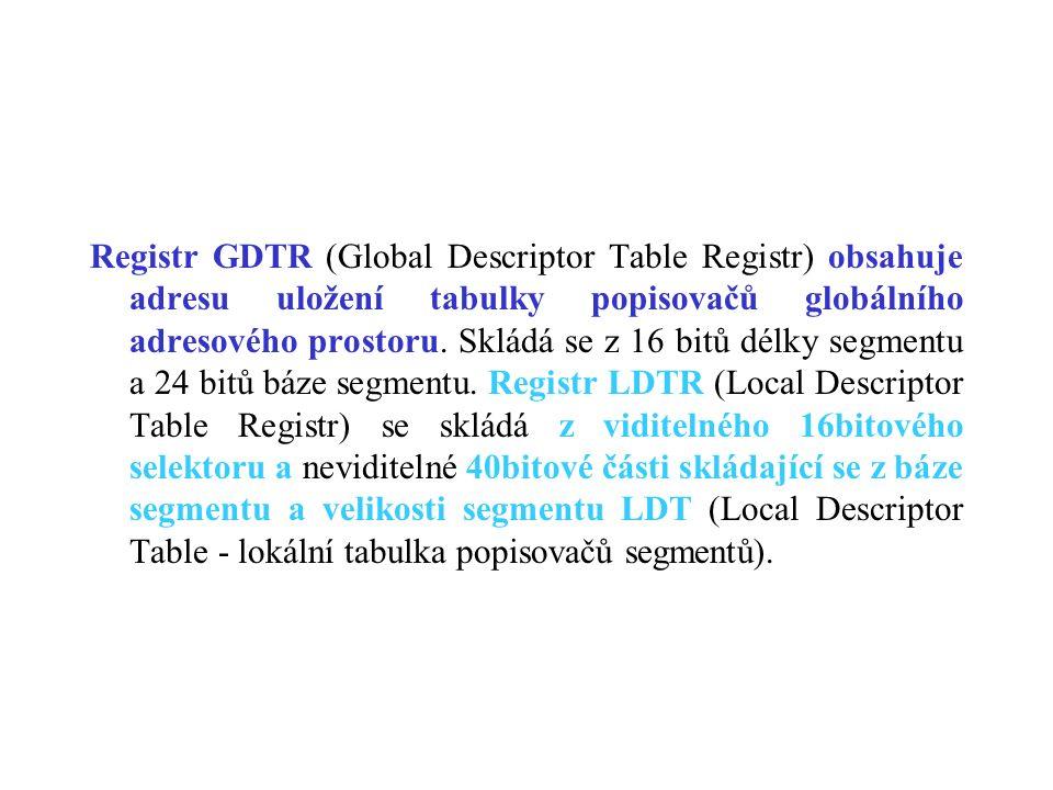 Registr GDTR (Global Descriptor Table Registr) obsahuje adresu uložení tabulky popisovačů globálního adresového prostoru. Skládá se z 16 bitů délky se