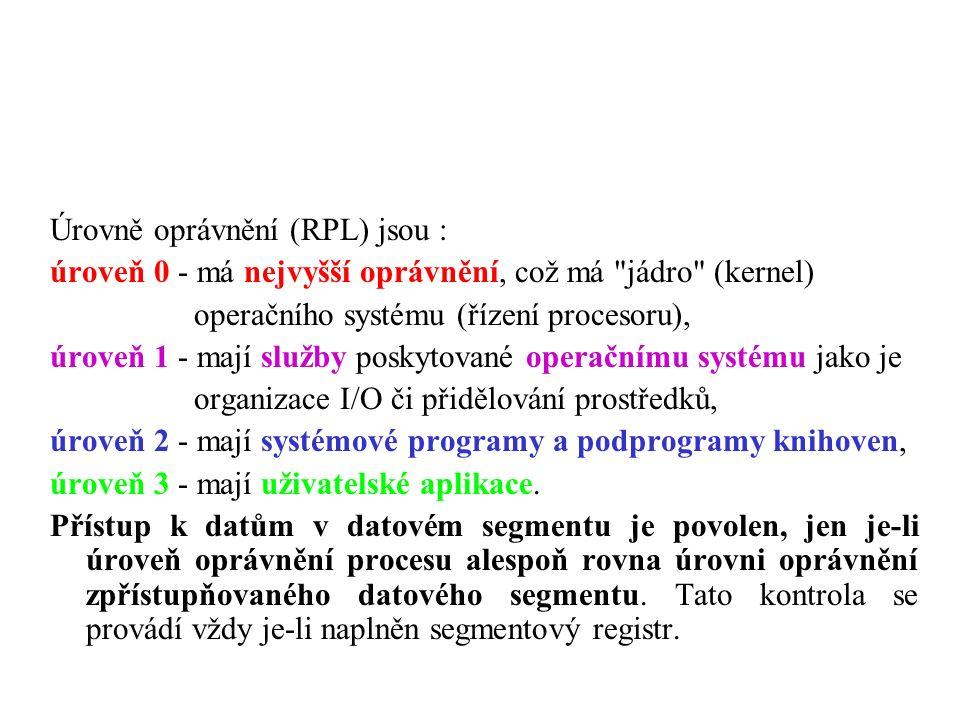 Úrovně oprávnění (RPL) jsou : úroveň 0 - má nejvyšší oprávnění, což má