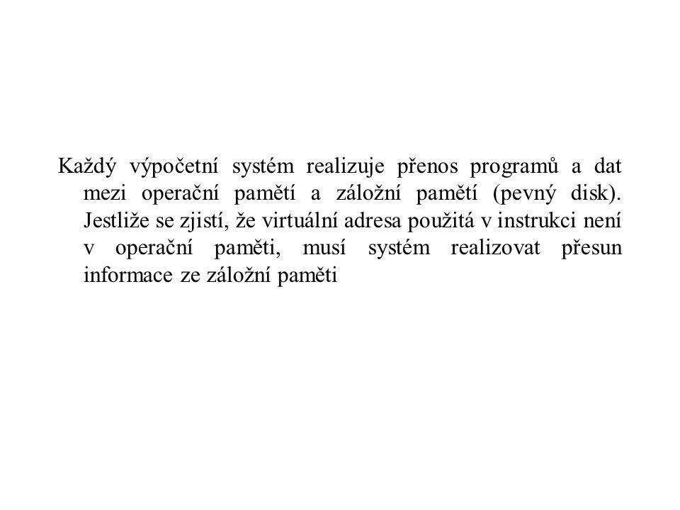 Každý výpočetní systém realizuje přenos programů a dat mezi operační pamětí a záložní pamětí (pevný disk). Jestliže se zjistí, že virtuální adresa pou