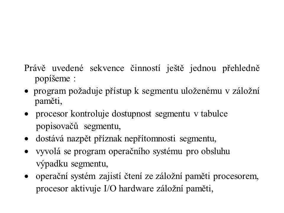 Právě uvedené sekvence činností ještě jednou přehledně popíšeme :  program požaduje přístup k segmentu uloženému v záložní paměti,  procesor kontroluje dostupnost segmentu v tabulce popisovačů segmentu,  dostává nazpět příznak nepřítomnosti segmentu,  vyvolá se program operačního systému pro obsluhu výpadku segmentu,  operační systém zajistí čtení ze záložní paměti procesorem, procesor aktivuje I/O hardware záložní paměti,