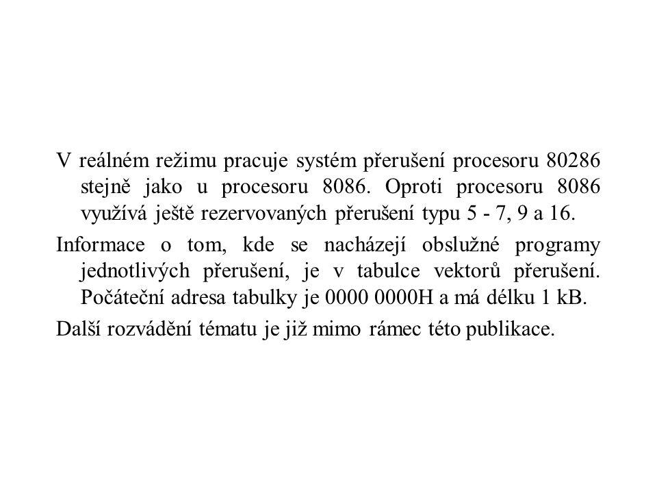 V reálném režimu pracuje systém přerušení procesoru 80286 stejně jako u procesoru 8086.