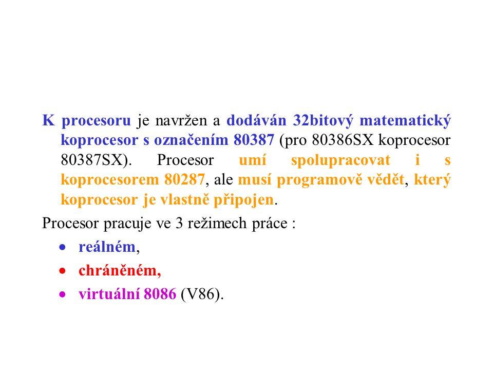 K procesoru je navržen a dodáván 32bitový matematický koprocesor s označením 80387 (pro 80386SX koprocesor 80387SX). Procesor umí spolupracovat i s ko