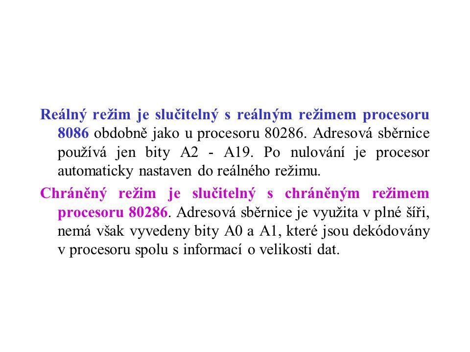 Reálný režim je slučitelný s reálným režimem procesoru 8086 obdobně jako u procesoru 80286. Adresová sběrnice používá jen bity A2 - A19. Po nulování j