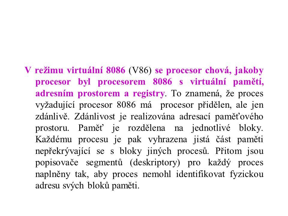 V režimu virtuální 8086 (V86) se procesor chová, jakoby procesor byl procesorem 8086 s virtuální pamětí, adresním prostorem a registry.