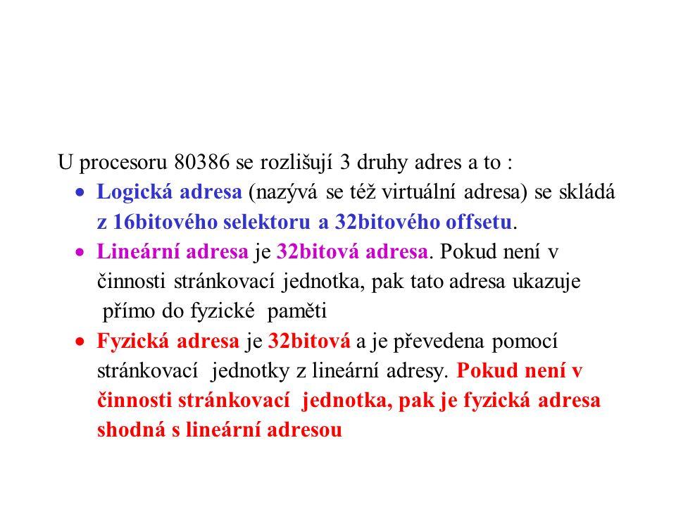 U procesoru 80386 se rozlišují 3 druhy adres a to :  Logická adresa (nazývá se též virtuální adresa) se skládá z 16bitového selektoru a 32bitového of