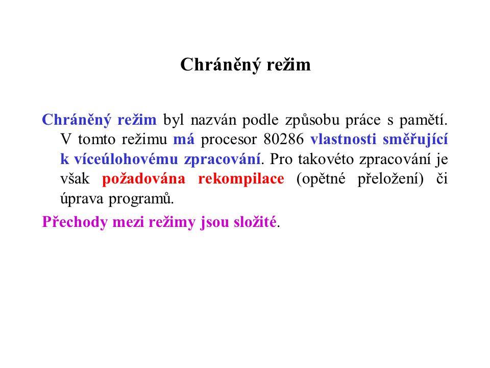 Chráněný režim Chráněný režim byl nazván podle způsobu práce s pamětí.