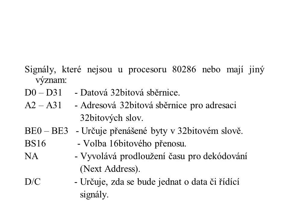 Signály, které nejsou u procesoru 80286 nebo mají jiný význam: D0 – D31 - Datová 32bitová sběrnice.