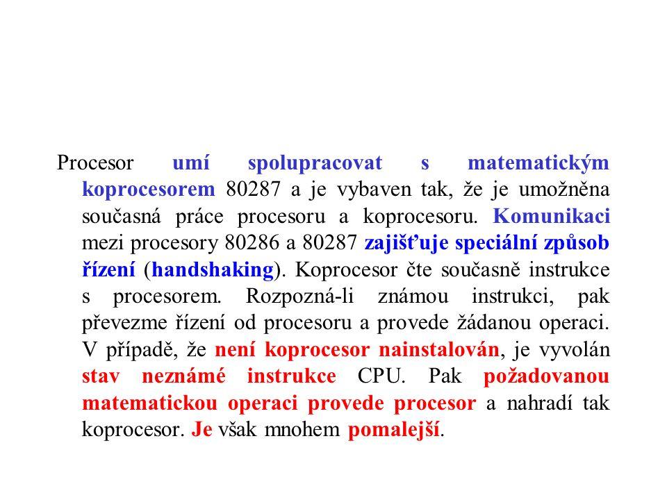 Procesor umí spolupracovat s matematickým koprocesorem 80287 a je vybaven tak, že je umožněna současná práce procesoru a koprocesoru. Komunikaci mezi