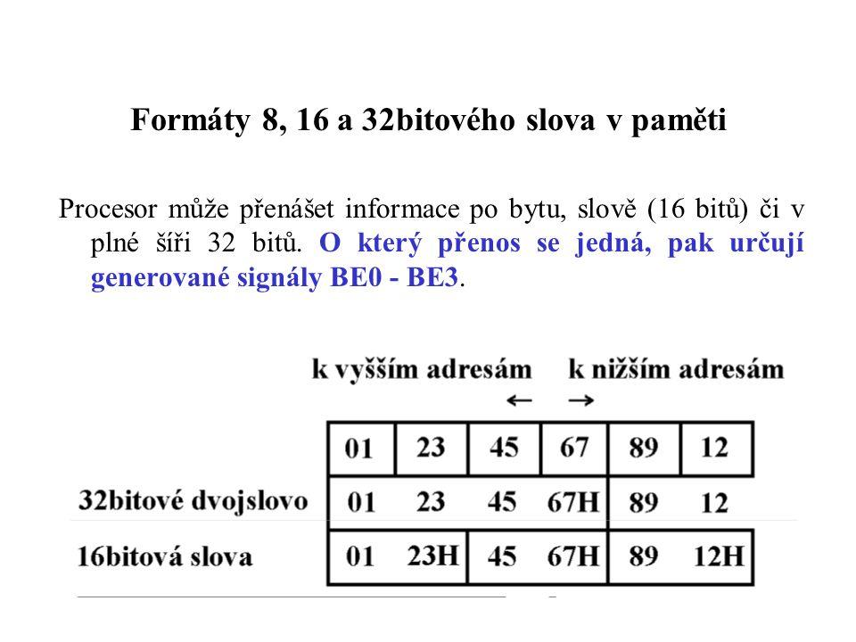 Formáty 8, 16 a 32bitového slova v paměti Procesor může přenášet informace po bytu, slově (16 bitů) či v plné šíři 32 bitů.