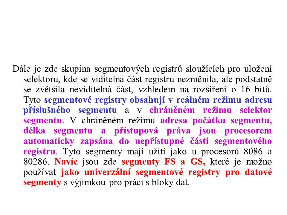Dále je zde skupina segmentových registrů sloužících pro uložení selektoru, kde se viditelná část registru nezměnila, ale podstatně se zvětšila neviditelná část, vzhledem na rozšíření o 16 bitů.