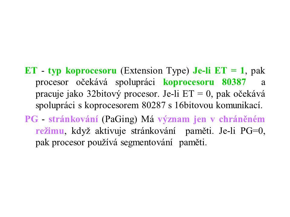 ET - typ koprocesoru (Extension Type) Je-li ET = 1, pak procesor očekává spolupráci koprocesoru 80387 a pracuje jako 32bitový procesor. Je-li ET = 0,