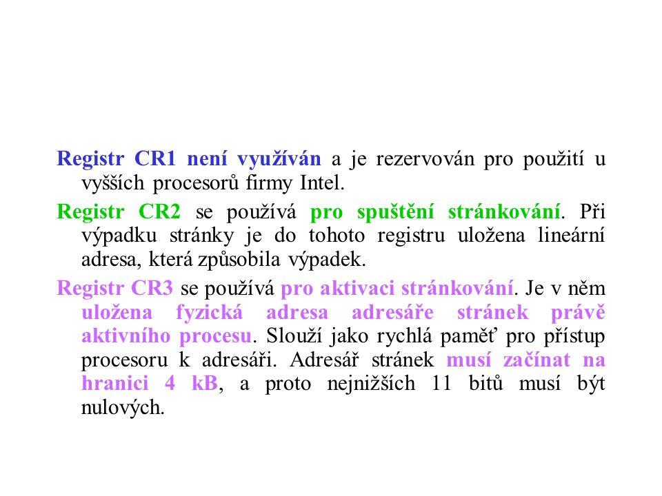 Registr CR1 není využíván a je rezervován pro použití u vyšších procesorů firmy Intel. Registr CR2 se používá pro spuštění stránkování. Při výpadku st