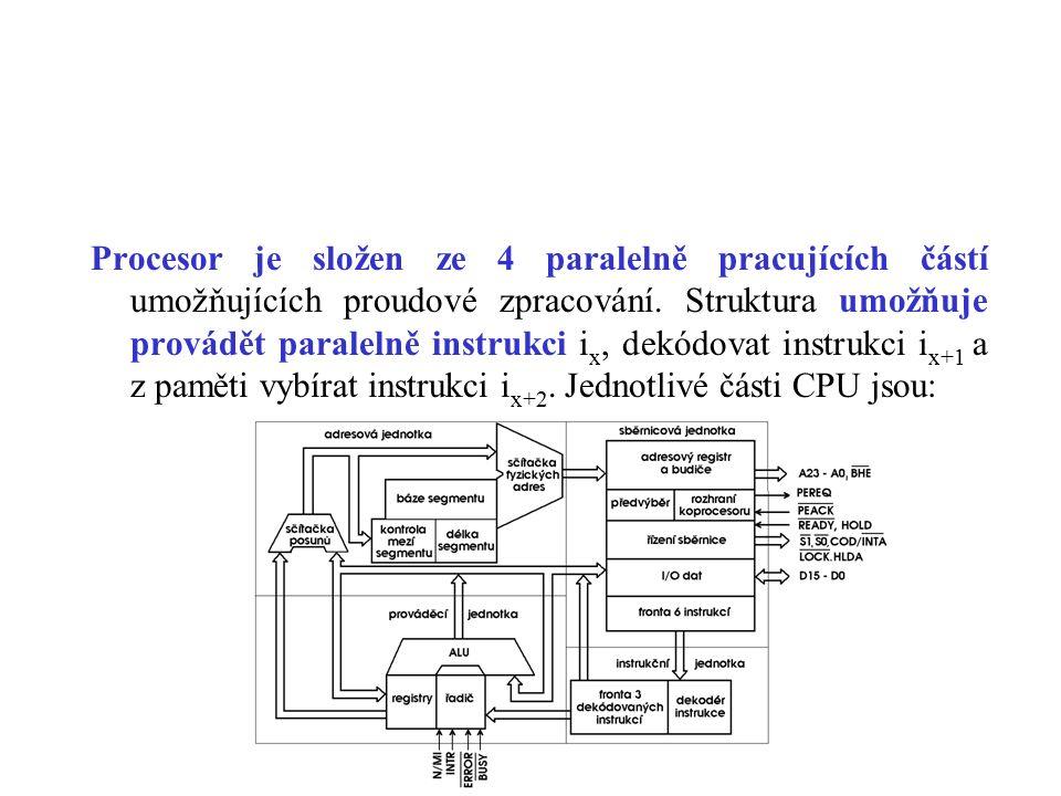 Procesor je složen ze 4 paralelně pracujících částí umožňujících proudové zpracování.