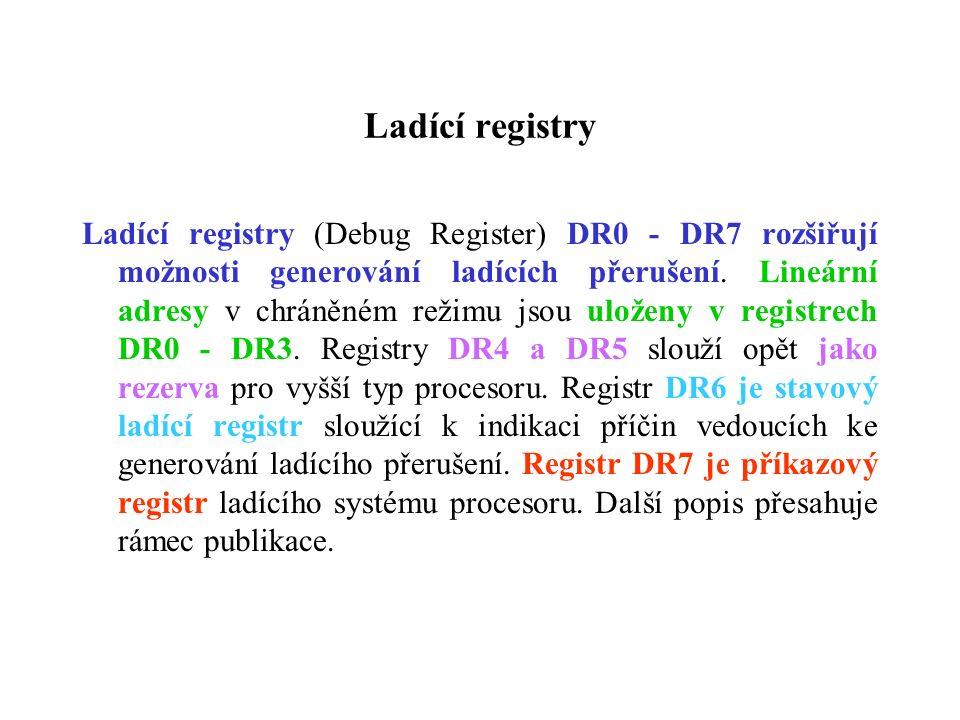 Ladící registry Ladící registry (Debug Register) DR0 - DR7 rozšiřují možnosti generování ladících přerušení. Lineární adresy v chráněném režimu jsou u