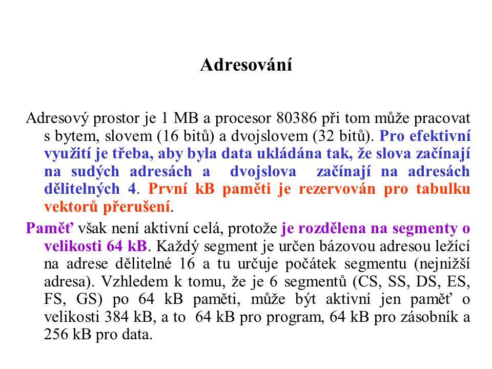 Adresování Adresový prostor je 1 MB a procesor 80386 při tom může pracovat s bytem, slovem (16 bitů) a dvojslovem (32 bitů). Pro efektivní využití je