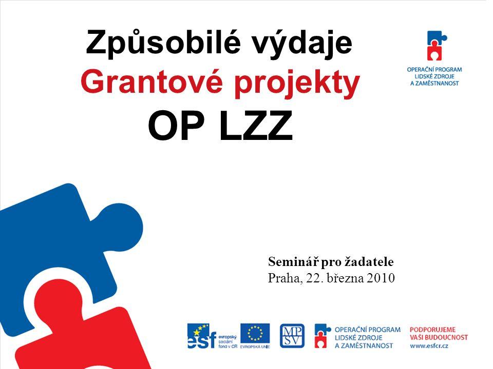 1 Způsobilé výdaje Grantové projekty OP LZZ Seminář pro žadatele Praha, 22. března 2010