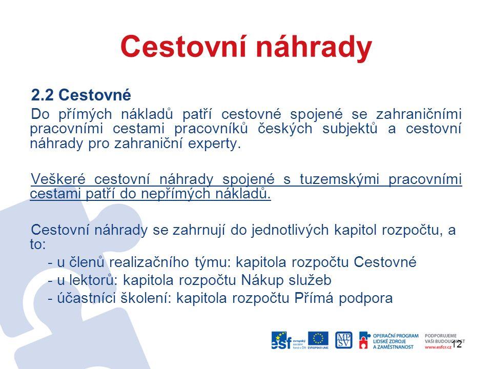 12 Cestovní náhrady 2.2 Cestovné Do přímých nákladů patří cestovné spojené se zahraničními pracovními cestami pracovníků českých subjektů a cestovní náhrady pro zahraniční experty.