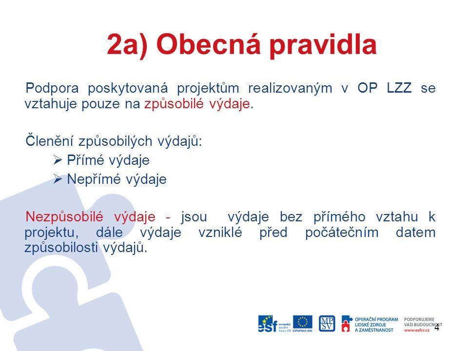 4 2a) Obecná pravidla Podpora poskytovaná projektům realizovaným v OP LZZ se vztahuje pouze na způsobilé výdaje.