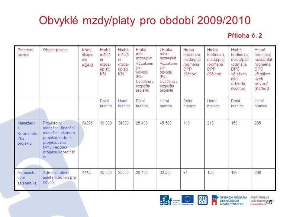 40 Obvyklé mzdy/platy pro období 2009/2010 Příloha č.