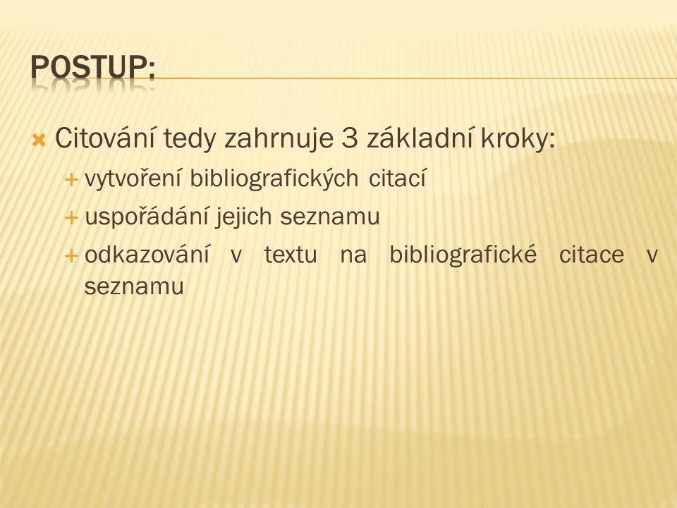  Citování tedy zahrnuje 3 základní kroky:  vytvoření bibliografických citací  uspořádání jejich seznamu  odkazování v textu na bibliografické citace v seznamu