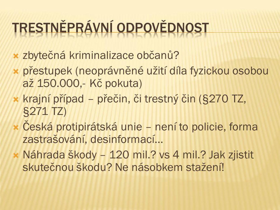  zbytečná kriminalizace občanů.