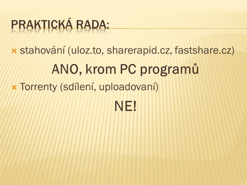  stahování (uloz.to, sharerapid.cz, fastshare.cz) ANO, krom PC programů  Torrenty (sdílení, uploadovaní) NE!