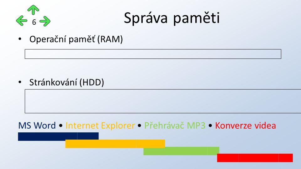 Operační paměť (RAM) Stránkování (HDD) MS Word Internet Explorer Přehrávač MP3 Konverze videa Správa paměti 6