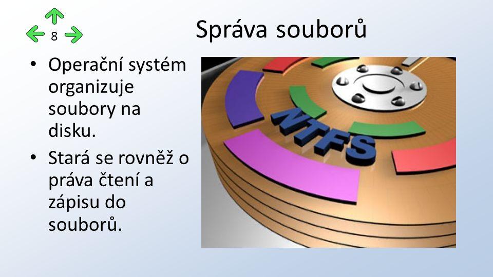 Operační systém organizuje soubory na disku. Stará se rovněž o práva čtení a zápisu do souborů.
