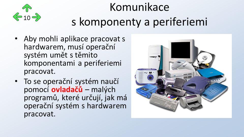 Aby mohli aplikace pracovat s hardwarem, musí operační systém umět s těmito komponentami a periferiemi pracovat.