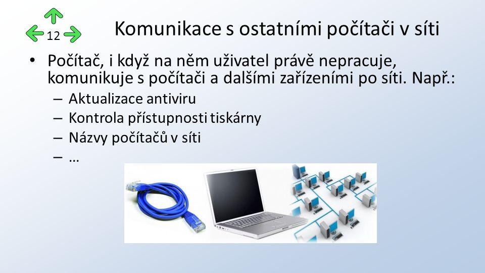 Počítač, i když na něm uživatel právě nepracuje, komunikuje s počítači a dalšími zařízeními po síti.
