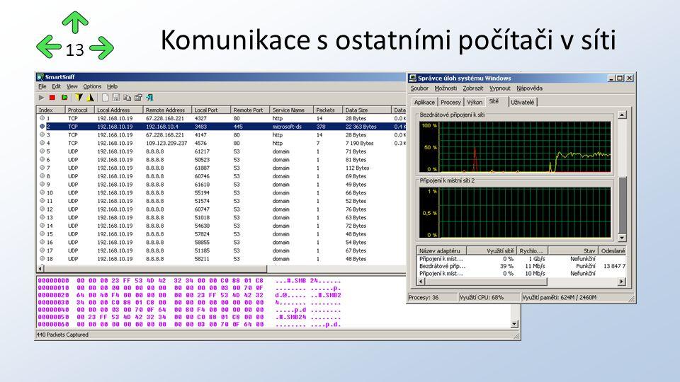 Komunikace s ostatními počítači v síti 13