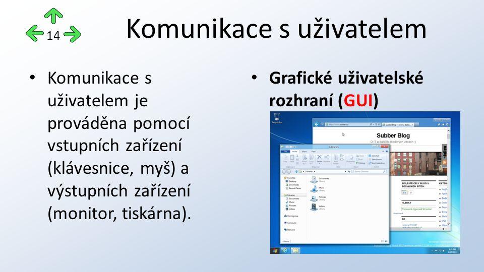 Komunikace s uživatelem je prováděna pomocí vstupních zařízení (klávesnice, myš) a výstupních zařízení (monitor, tiskárna).