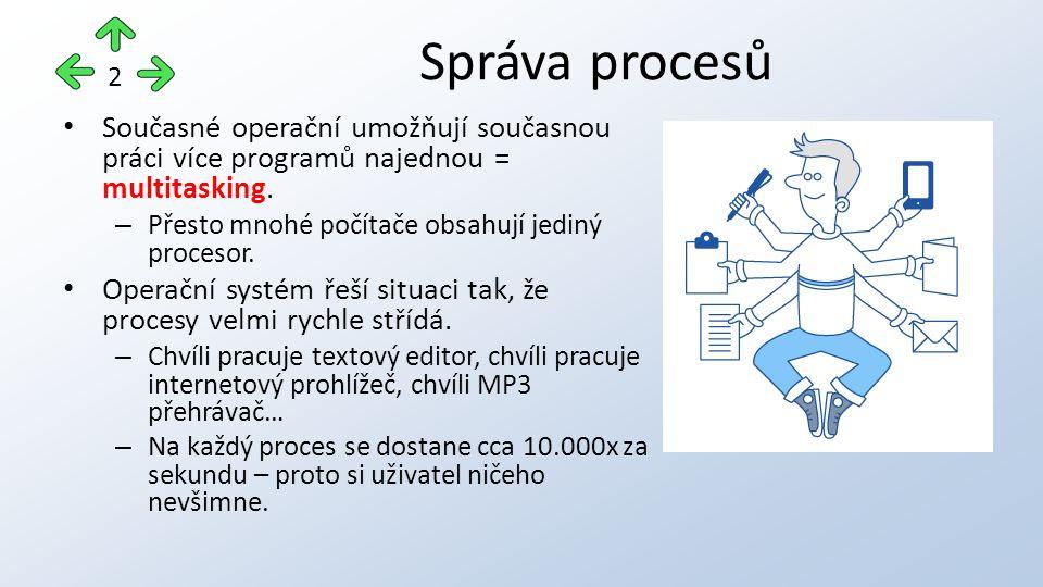 Současné operační umožňují současnou práci více programů najednou = multitasking.