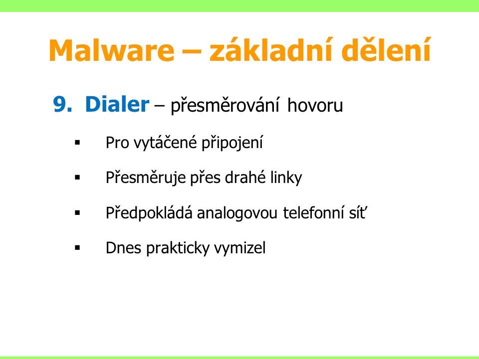 9.Dialer – přesměrování hovoru  Pro vytáčené připojení  Přesměruje přes drahé linky  Předpokládá analogovou telefonní síť  Dnes prakticky vymizel Malware – základní dělení