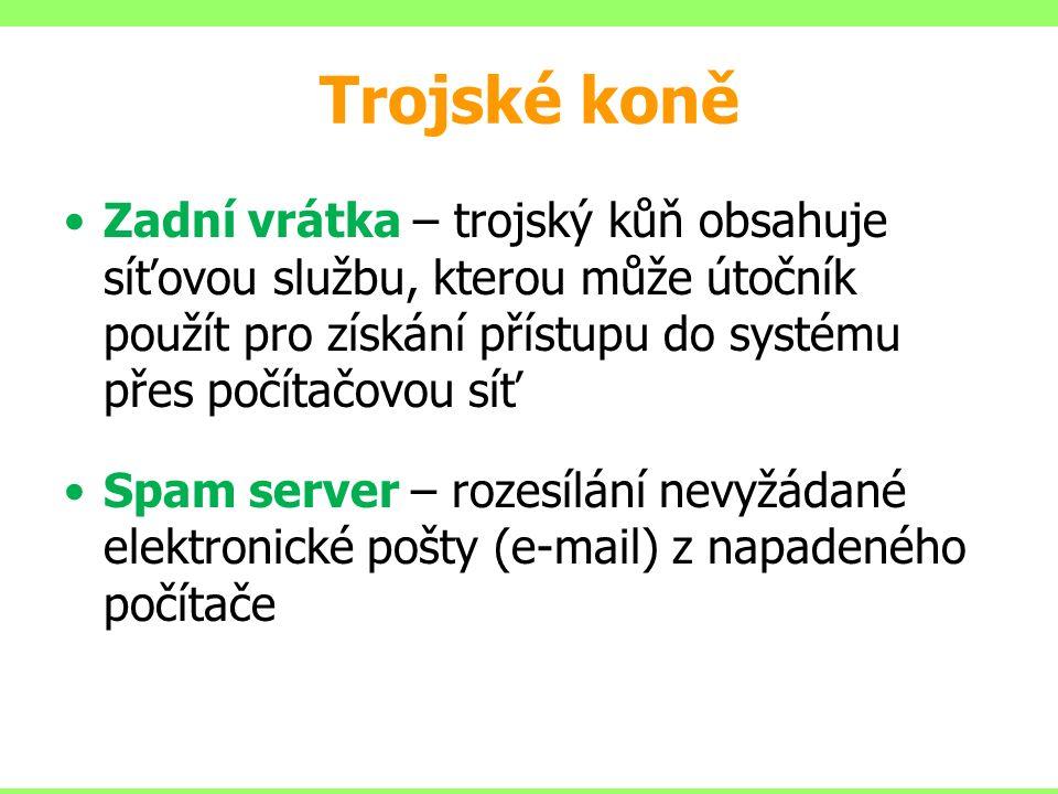 Trojské koně Zadní vrátka – trojský kůň obsahuje síťovou službu, kterou může útočník použít pro získání přístupu do systému přes počítačovou síť Spam server – rozesílání nevyžádané elektronické pošty (e-mail) z napadeného počítače