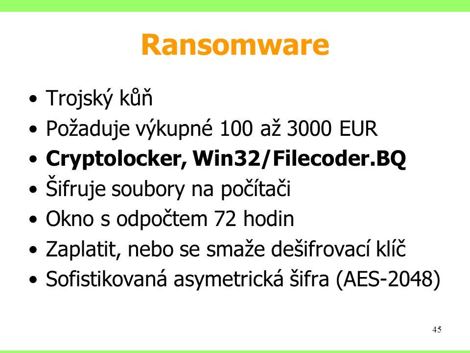 Ransomware Trojský kůň Požaduje výkupné 100 až 3000 EUR Cryptolocker, Win32/Filecoder.BQ Šifruje soubory na počítači Okno s odpočtem 72 hodin Zaplatit, nebo se smaže dešifrovací klíč Sofistikovaná asymetrická šifra (AES-2048) 45
