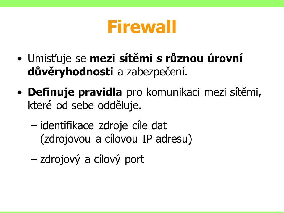 Firewall Umisťuje se mezi sítěmi s různou úrovní důvěryhodnosti a zabezpečení.