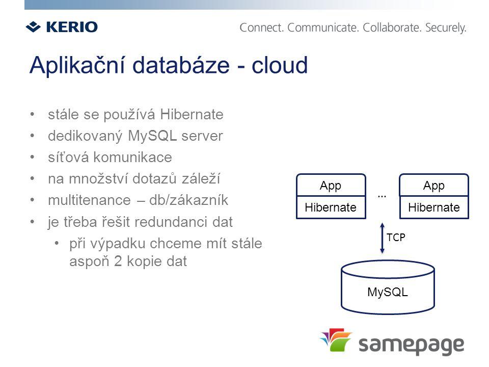 Aplikační databáze - cloud stále se používá Hibernate dedikovaný MySQL server síťová komunikace na množství dotazů záleží multitenance – db/zákazník je třeba řešit redundanci dat při výpadku chceme mít stále aspoň 2 kopie dat MySQL App Hibernate App Hibernate...